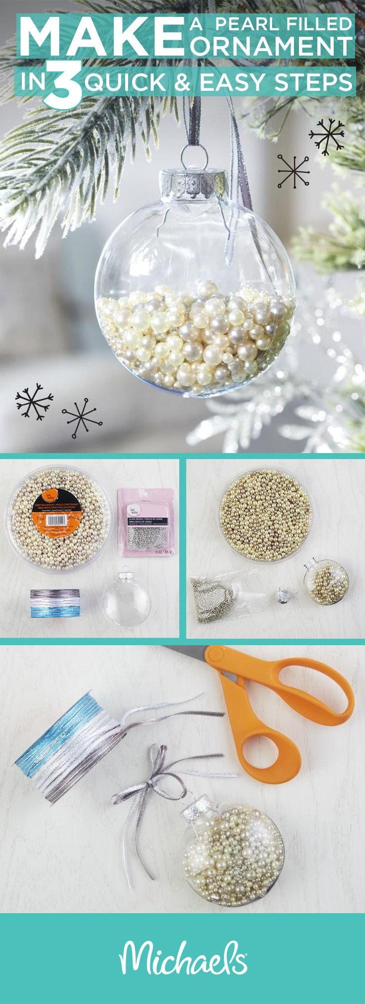 Make a pearl filled ornament in 3 quick and easy steps! First, gather your supplies. Open your clear ornament and fill it with loose pearls. Replace the top of the ornament and tie on ribbon to match your tree. For more holiday ideas and inspiration, visit Michaels.com