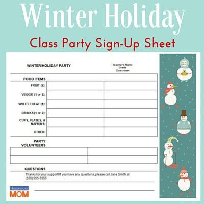 7 best party sheet images on Pinterest Classroom ideas - food sign up sheet template