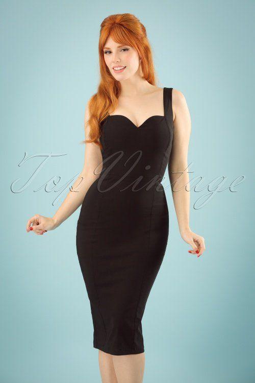 21108d62512a81 50s Anita Pencil Dress in Black. Collectif Clothing Anita Plain ...