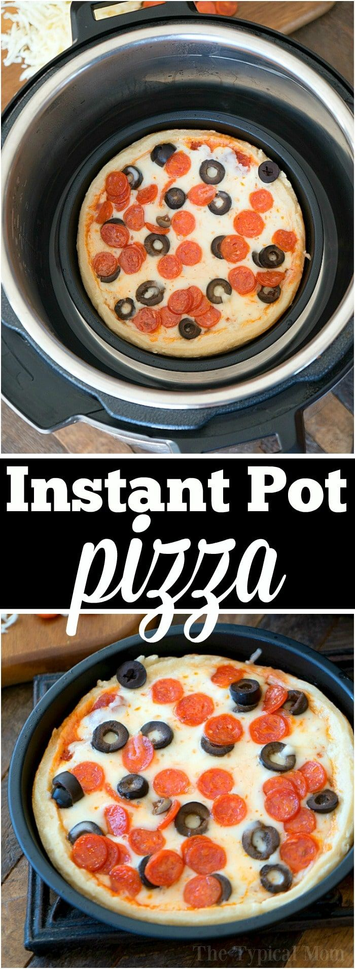 If you've been wondering how to make an Instant Pot pizza I have the answer for you!! We have made these individual pizzas in our pressure cooker for weeks now and the kids love it for dinner. It's simple once you have the right pan, ingredients, and instructions. Try it this week and let us know what you think! #instantpot #pressurecooker #pizza #recipe via @thetypicalmom