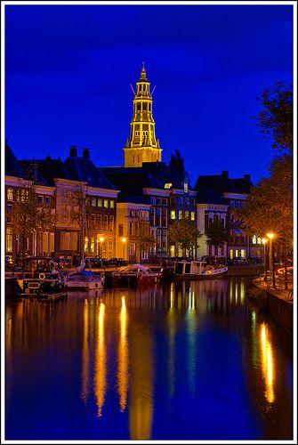 Groningen Canal and Towering Der Aa-kerk