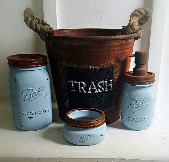 Mason Jar Bathroom Set. 4 Piece.Rustic. BLUE. Rustic Waste