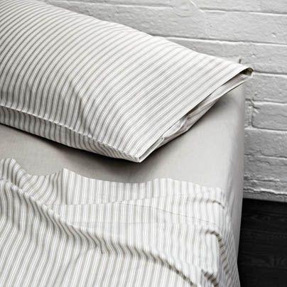 Ticking Stripe Single bed sheet set Taupe