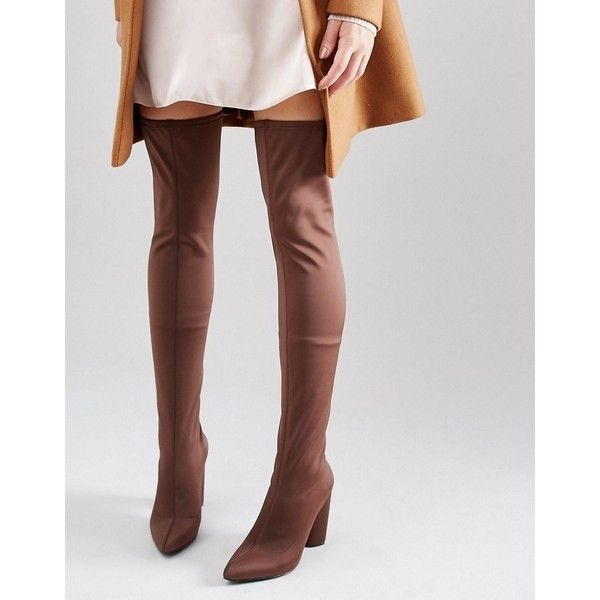 Missguided Neoprene Thigh High Heeled Boot ($38) ❤ liked on Polyvore featuring shoes, boots, brown, brown thigh high boots, thigh high heel boots, block-heel boots, block heel boots and distressed brown boots