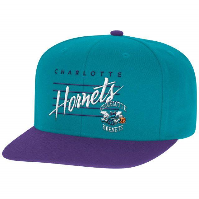Cursive Script with Logo Snapback Charlotte Hornets