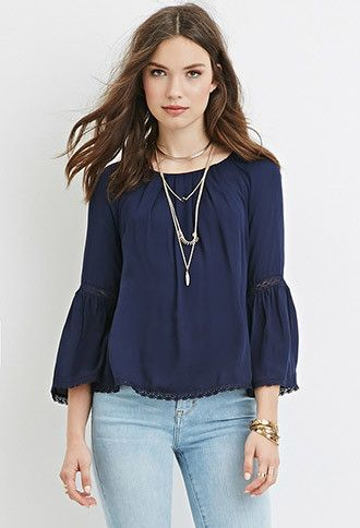 Crochet-Trimmed Peasant Top | Forever 21 - 2000181587022