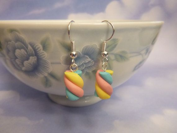 Polymer Clay Twisted Marshmallow Earrings