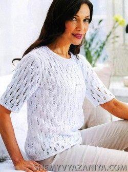 Белый пуловер с короткими рукавами