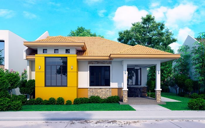 Modern Bungalow House With 3d Floor Plans And Firewall Pinoy House Designs Pinoy Hous Bungalow House Design Modern Small House Design Modern Bungalow House