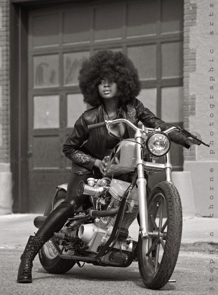 Motorcycle Girl 063 Foxy Lady ~ Return of the Cafe Racers. loving the afro on the bike!!