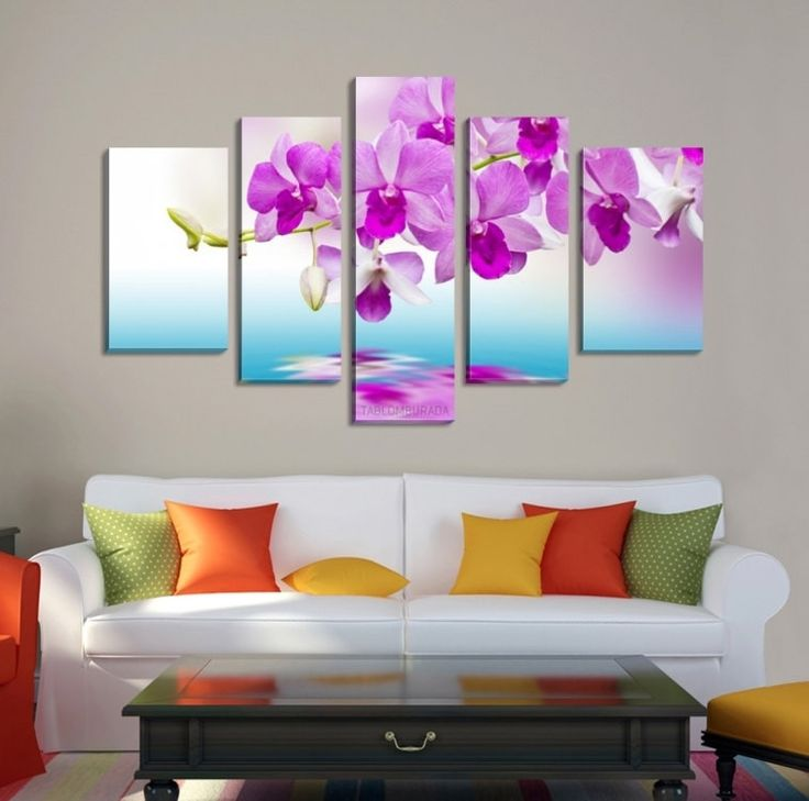 Large Wall CANVAS ART - Orchid Canvas Print Ready to Hang 5 Panels Stretched on Deep 3cm Frame - Flowers