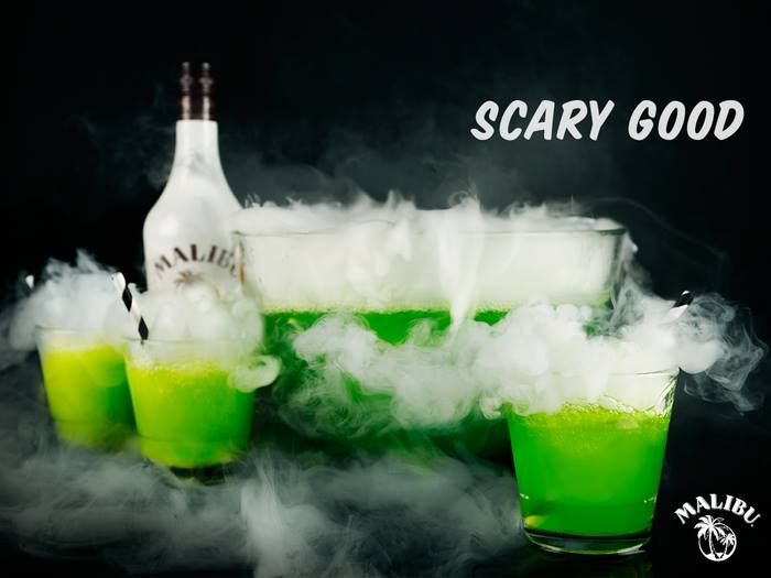 2 Parts Malibu Rum 2 Parts Melon Liqueur 10 Parts Pineapple Juice  HOW TO MAKE IT  Combine ingredients in a large punch bowl filled with ice. Serve surrounded by dry ice for a spooky effect