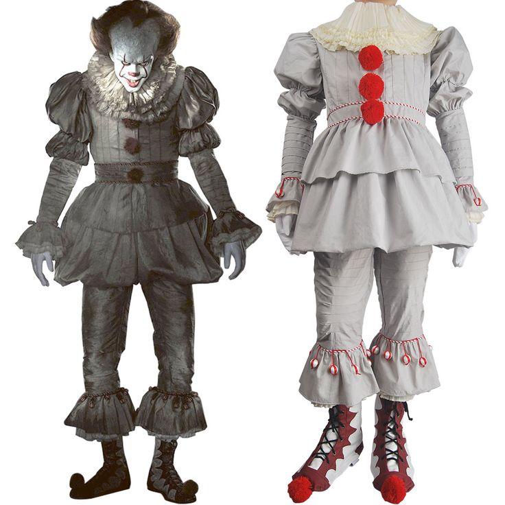 Stephen King's It 2017 film evil clown Pennywise cosplay halloween costume full set supervillain make-up costume gift toys kids children boys girls