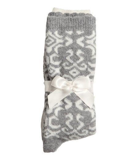 2-pack finstickade strumpor i ullblandning med uddkant upptill (H&M) 99:-