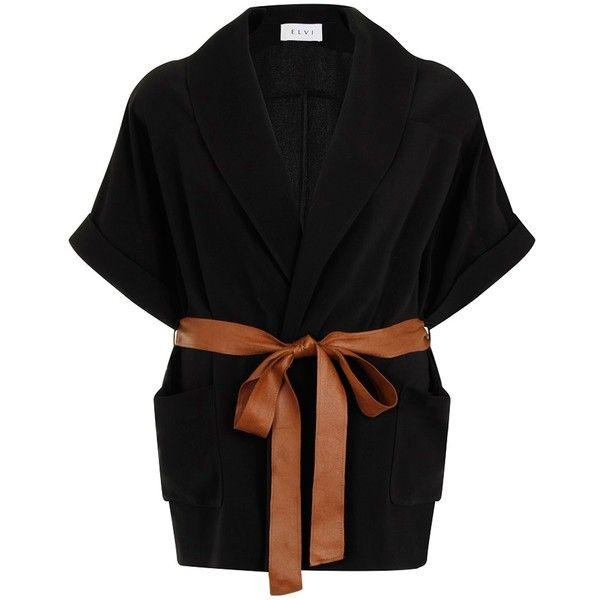 Elvi Plus Size Black Kimono Jacket With Tan Belt found on Polyvore featuring outerwear, jackets, black, women, kimono jacket, plus size kimono, plus size jackets, sash belt and cinch jackets