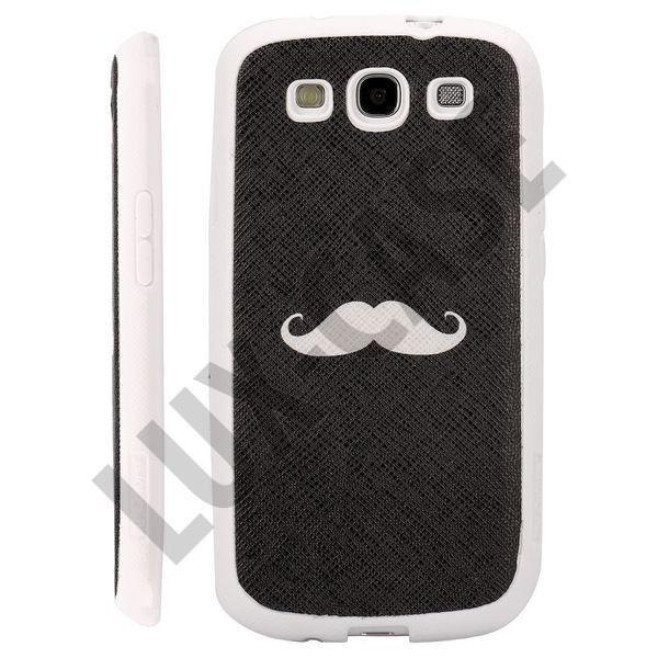 Happy Cartoon (Black - White Beard) Samsung Galaxy S3 Deksel