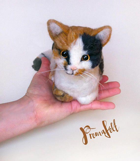 OOAK needle felted animal cat miniature realistic animal