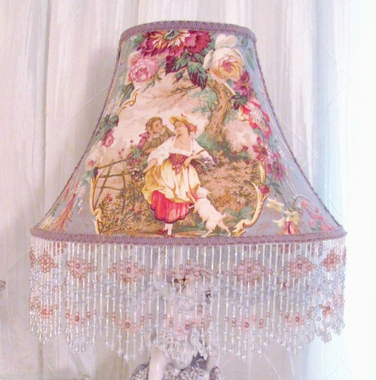 68 best 9 some of my lampshades ebay wwwshabbyshades images 12 lampshade french fragonard cameo toile fabric shabby lavender blue beads mozeypictures Image collections