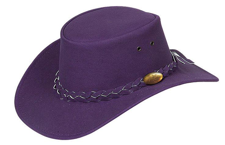 1301A Childrens PU Purple. PU Suede Hat by Jacaru. Leather Plaited Hatband and Brass Jacaru Badge.