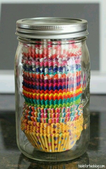 Use a jar to keep all of your cupcake liners together and organized. #OrganizationTip #GoodIdea