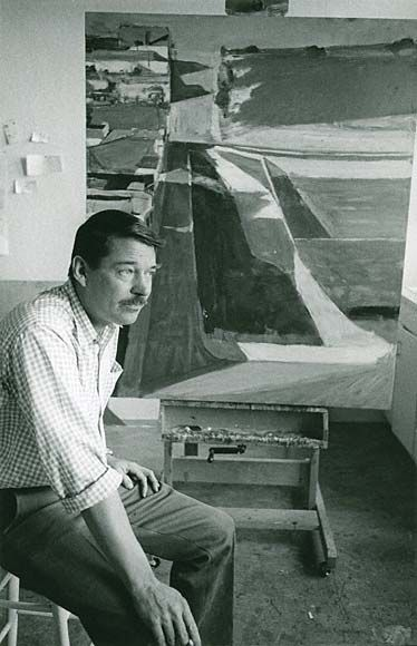 Richard Diebenkorn in front of his painting Cityscape in his Stanford University studio in Palo Alto, California, 1963.    Love this photo. Especially for the Mustache.   The perfect mark of great times past. Few artists have mustaches in the present, but the all don mustaches in old photos!