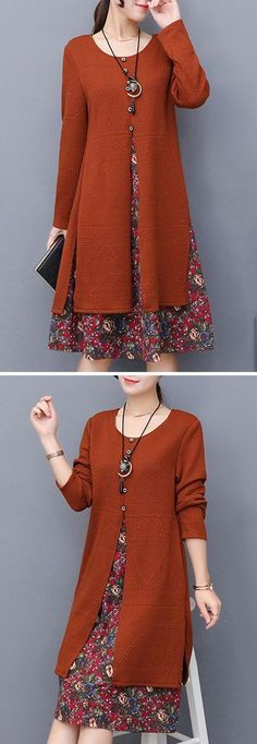 [Newchic Online Shopping] US$35.89 Women Elegant Floral Print Dresses with Long Sleeve