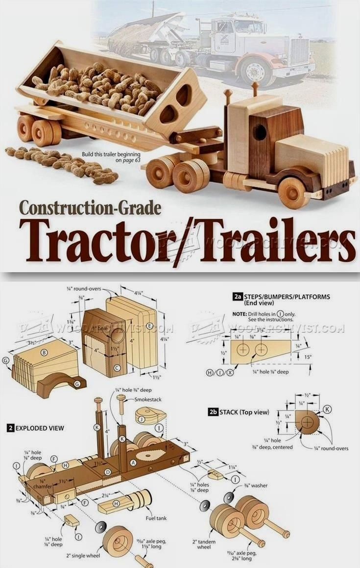 1791 wooden truck and trailer plan children s wooden toy