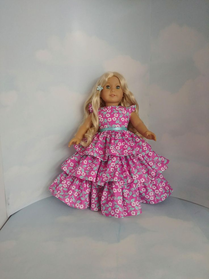 18 inch doll clothes - Pink and Aqua Floral Ruffled Gown - Handmade to fit the American Girl Doll - FREE SHIPPING USA by susiestitchit on Etsy
