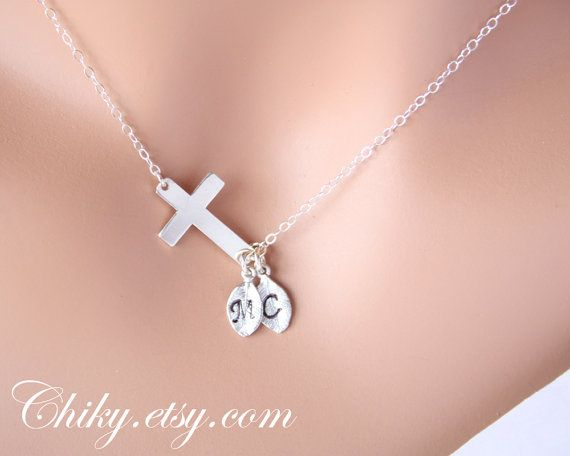 Sideways cross necklace with initial leafs horizontal by chiky, $34.00, & leaves would=initials of my godchildren