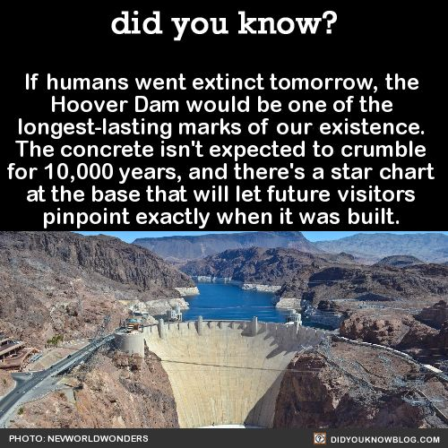 did you know? - If humans went extinct tomorrow, the Hoover Dam...