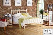 4ft6  Double Dormitory style Vintage Iron Metal Hospital bed Ivory - ISOBEL