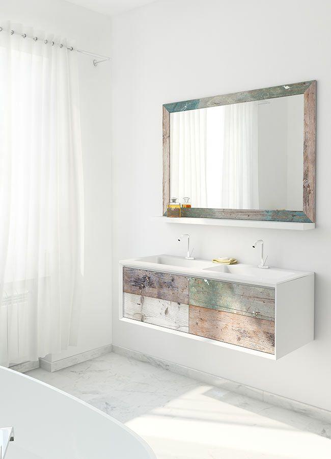 weathered wood look bathroom vanities from bianchini capponi - Multi Bathroom Design