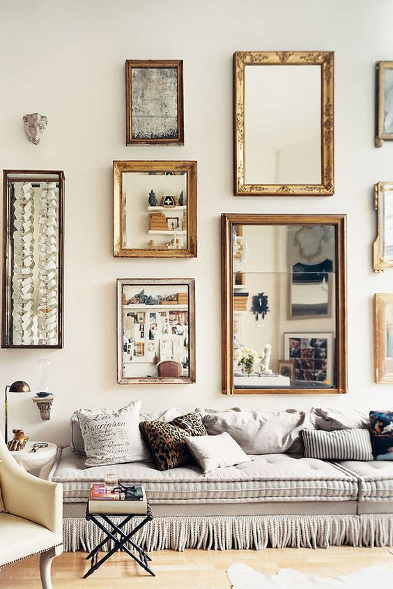 Best 25 wall of mirrors ideas on pinterest mirror for Mirror collage wall