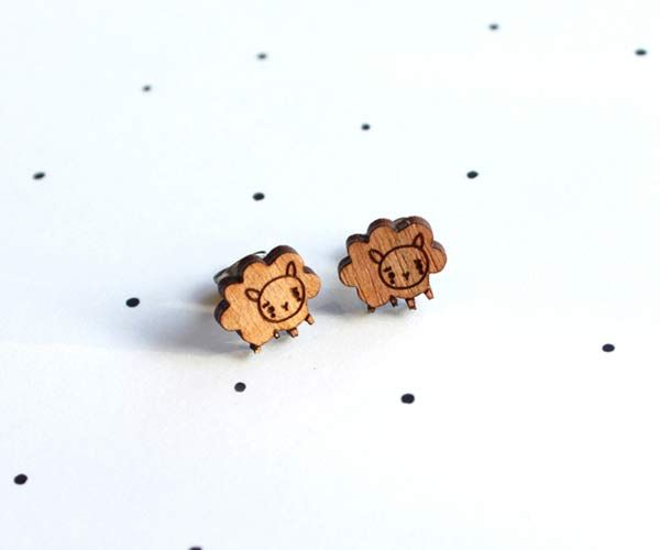 #sheep #earrings by @:: so little time :: so much to see::  These little earrings are made from locally sourced wood, that is cut locally, hand painted and lovingly pieced together. All of our finding...
