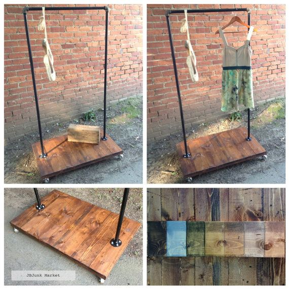 Industrial Clothing Rack/Shop Display, Plumbing Pipe Rack. Could be used to hang stained glass windows or upcycled chandeliers or garden chandeliers.