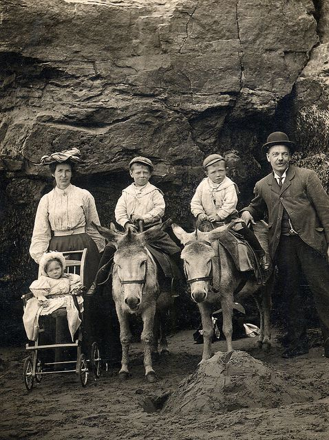 On a donkey in Scarborough. Found image. This picture was taken in about 1906 by T Taylor. Vintage photo.     Courtesy: LovedayLemon. Norwich, England (UK).
