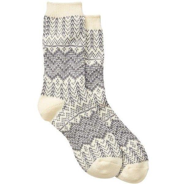 Gap Factory Cozy Aztec Socks (7.64 CAD) ❤ liked on Polyvore featuring intimates, hosiery, socks, heather grey, regular, ribbed socks, reinforced toe socks, gap socks and aztec socks