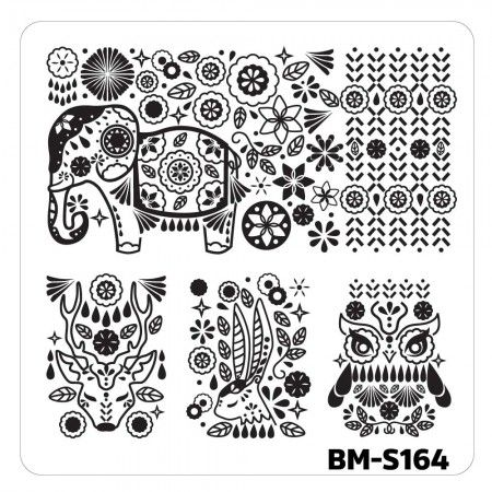 Nail Art Stamping Plates - Fuzzy and Ferocious: BM-S164, Decorated Animals