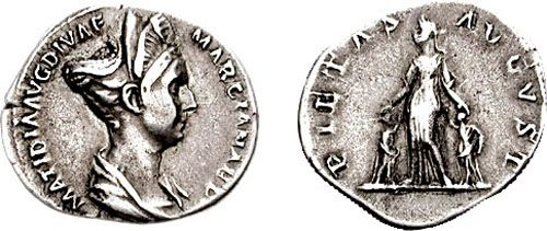 Coin with a head of Salonina Matidia  Reinette: Ancient Roman Hairstyles and Headdresses from the Flavian Dynasty to the Age of Trajan 69-117