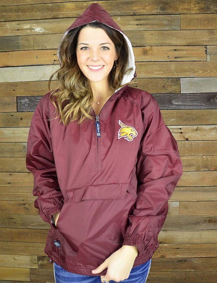 Cheer on your favorite Texas State University team in this new wind/water resistant pull-over! GO Bobcats!