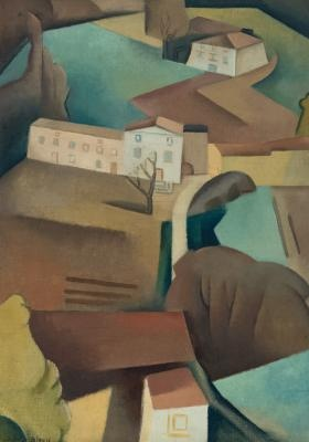 Dorrit Black (1891-1951) | French Landscape with Farmhouses, c.1935-6