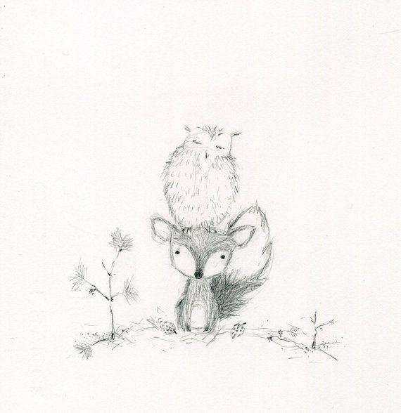 Fox and owl Friends Pencil Sketch Print by rachaelanderson on Etsy, $12.00