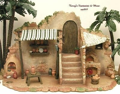 "FONTANINI ITALY 5"" POTTERY/BAKERY SHOP NATIVITY VILLAGE BUILDING #54638 NIB"
