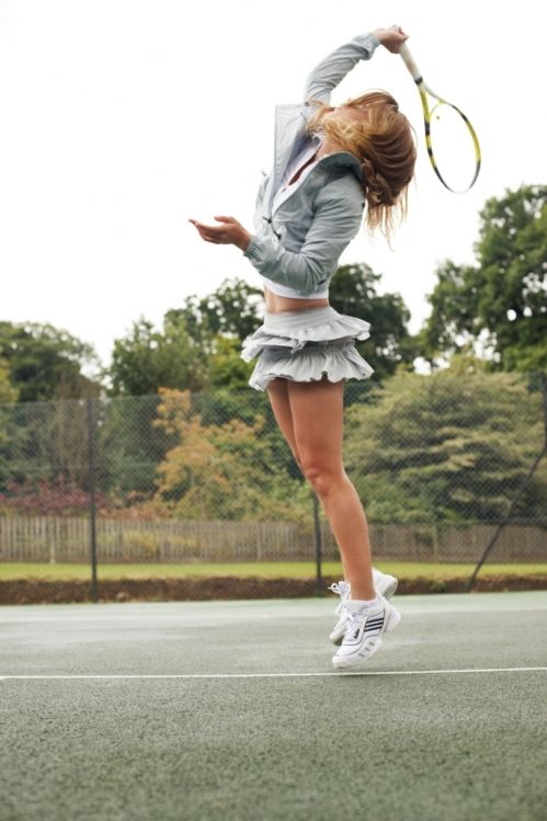 Stella McCartney for adidas......nothing crass or too showy for this collection. Very stylish and still evocative. Nice service motion too! Just the thing for summer mixed doubles games....
