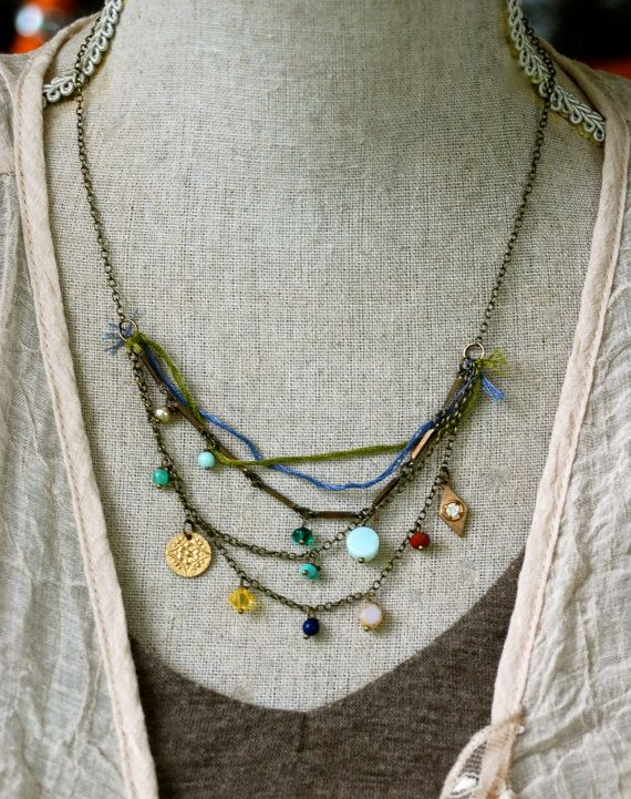 Charlotte. bohemianlayeredcharm necklace. by tiedupmemories, $42.00