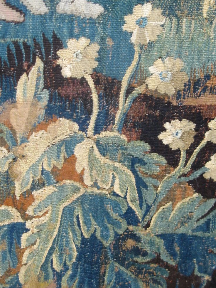 18th Century French tapestry floral detail Travels in Paris