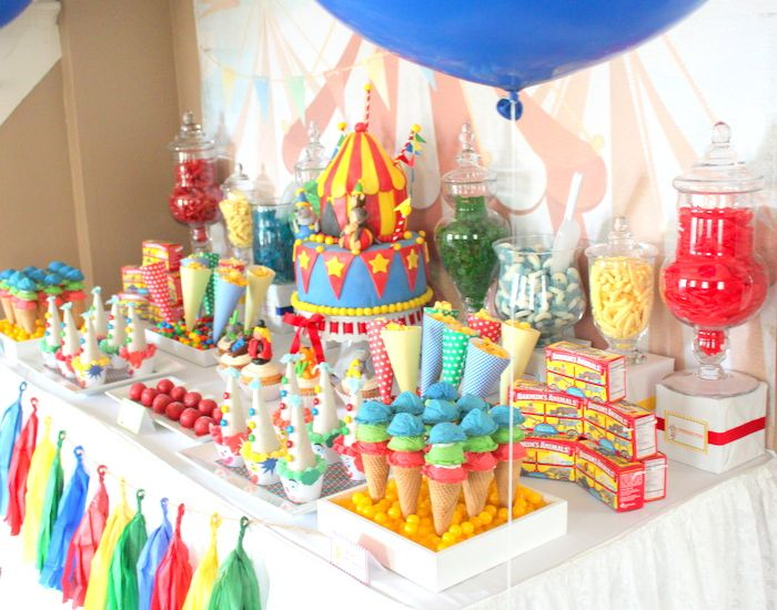 colorful circus dessert table
