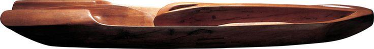 Paulo Laender - A BARCA DO SEMEN - escultura em madeira  (cedro)  - data 1982 - dim diam 40 x 225 cms