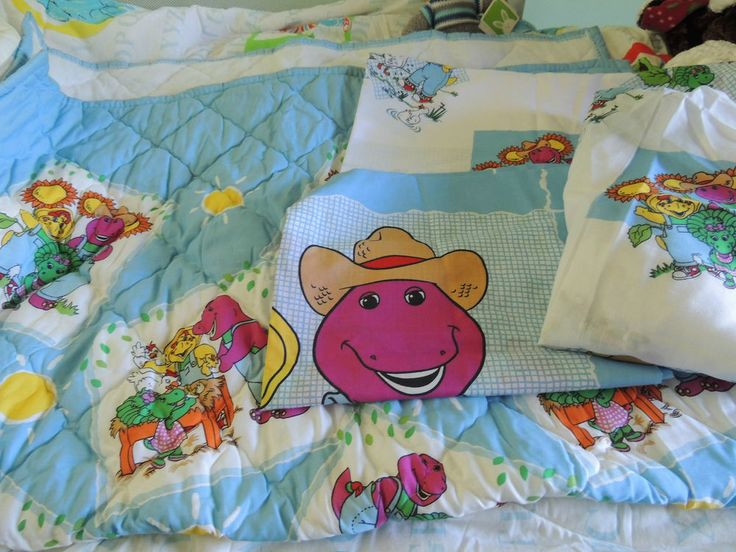 Sold Barney On The Farm Toddler Bedding Set Quilted
