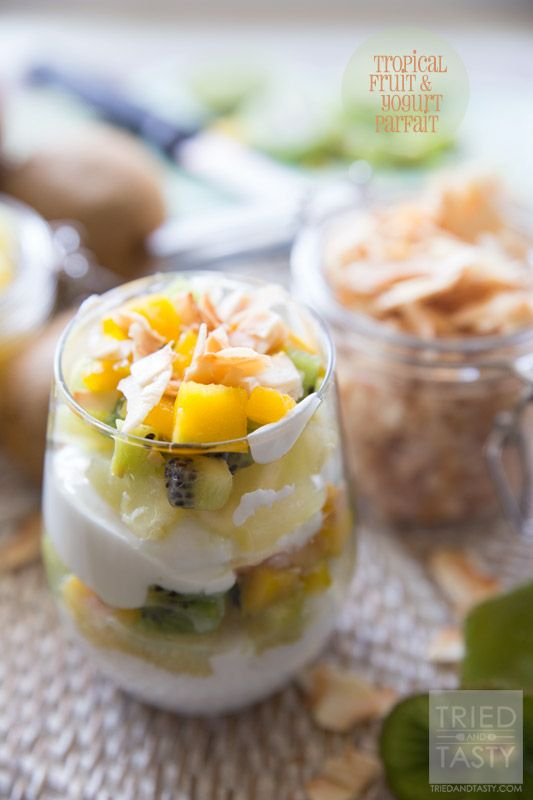Tropical Fruit & Yogurt Parfait // Want a quick and easy breakfast that will transport you to the tropics without leaving home? This Tropical Fruit & Yogurt Parfait will leave your tastebuds dancing like they're on vacation! Only five ingredients!   Tried and Tasty